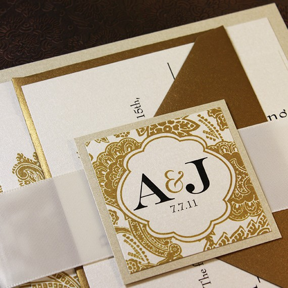 Mariage - Wedding Invitation Champagne Gold Wedding Invitation Bellevue Wedding Invitation Suite - Ribbon Belly Band - Sample Kit