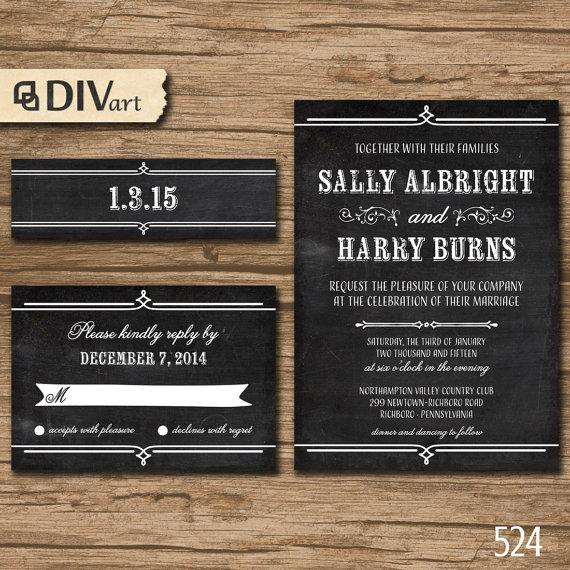 Mariage - PRINTABLE DIY Wedding Invitation Suite, Response Card, Bellyband - rustic, chalkboard texture, blackboard texture or any color - 524