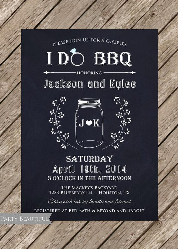Mariage - Couples or Coed Bridal Shower Printable Invitation-I Do BBQ, Chalkboard, Mason Jar, Wedding