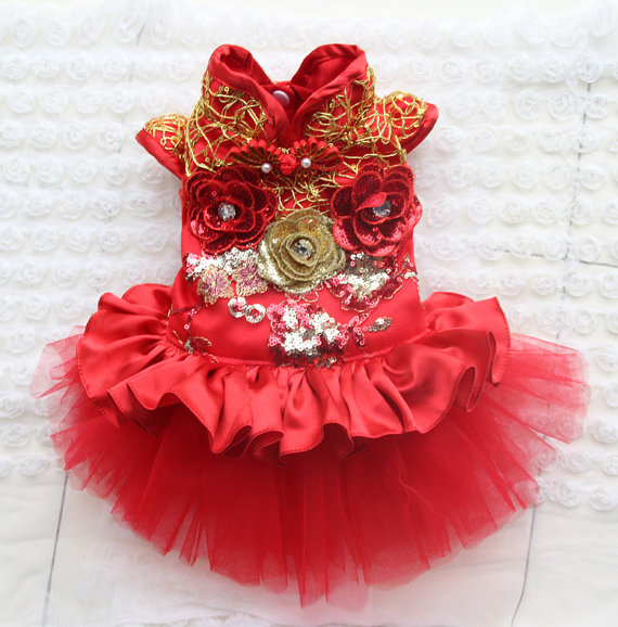 Свадьба - Custom Size! Red Cheongsam Pet Tangzhuang Pet Clothes, Cat and Dog Cheongsam Pet with the Chinese New Year