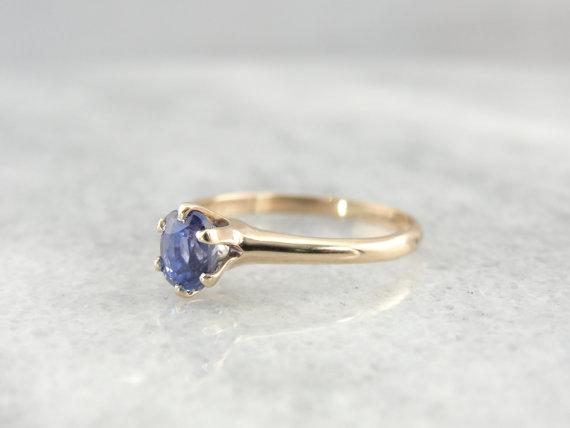 زفاف - Simple Ceylon Sapphire Victorian Engagement Ring - D6FZ4Q-D