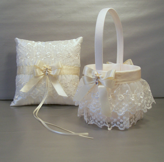 Wedding Bridal Flower Girl Basket And Ring Bearer Pillow
