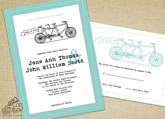Tandem Bike Wedding Invitation Printable Diy