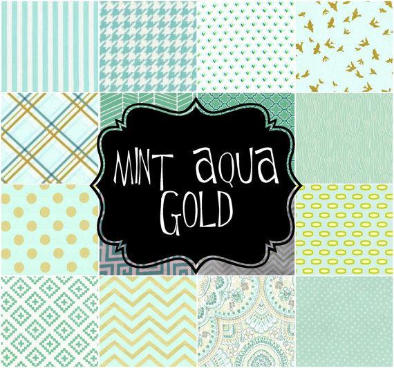 زفاف - Little and Big Guy NECKTIE Tie - Mint Aqua and Gold Collection - (Newborn-Adult) - Baby Boy Toddler Teen Man - Spring Easter