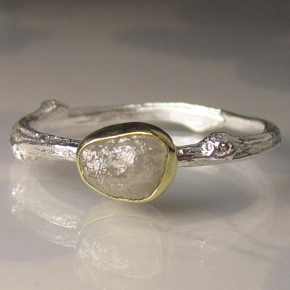 زفاف - Raw Diamond Twig Ring - 18k Gold and Sterling Silver - Engagement Ring