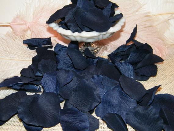 Mariage - 200 Rose Petals - Artifical Petals - Deep Navy Blue - Bridal Shower Wedding Decoration - Flower Girl Petals - Table Scatter