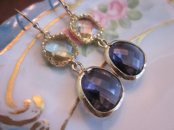 Mariage - Citrine Earrings Tanzanite Earrings Gold - Glass Earrings - Bridesmaid Earrings - Wedding Earrings - Valentines Day Gift