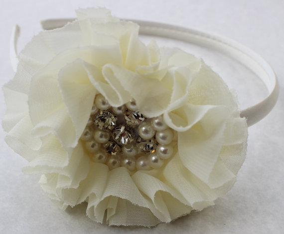 Mariage - Ivory headband plastic cream headband satin headband flower girl headband gold large headband wedding  headband chiffon headband photo prop