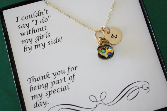 Свадьба - 9 Personlized Bridesmaid Gifts, Initial Jewelry, Hand Stamped Necklace, Bridal Party, Gemstone and Initial, Gift Set, Gold, Wedding