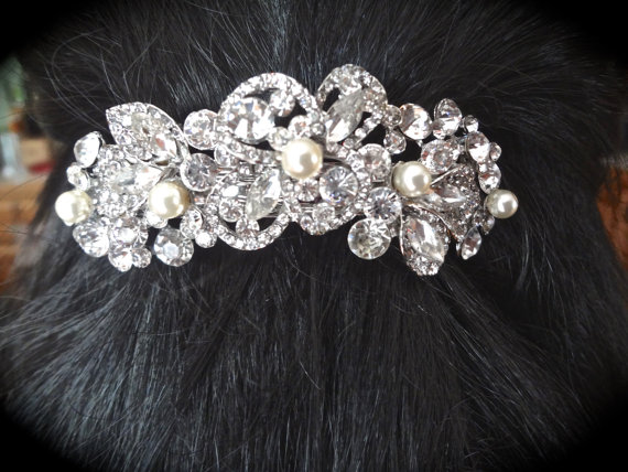 Wedding - Pearl and rhinestone hair Barrette ~ Hair accessory ~ Barrette ~ Swarovski pearls ~ Wedding hair piece ~ Hair Jewelry ~ Wedding accessories