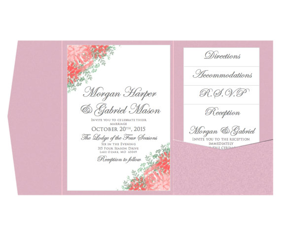 Pocket Wedding Invitation Template Set   INSTANT DOWNLOAD   Watercolor  Floral   DIY Wedding Invitations   Microsoft Word Format  Microsoft Word Invitation Templates