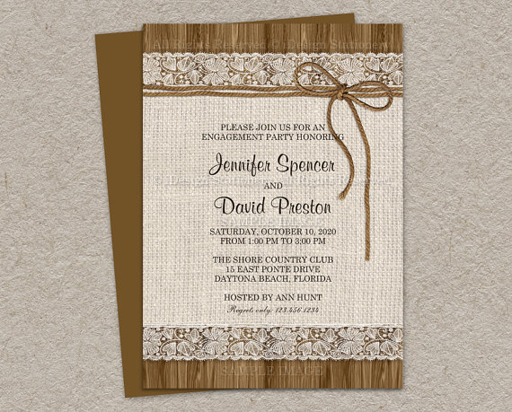 Свадьба - Rustic Engagement Invitation - Burlap Engagement Invitation - Burlap And Lace Invitation - Engagement Party Invitation- Printable Invitation
