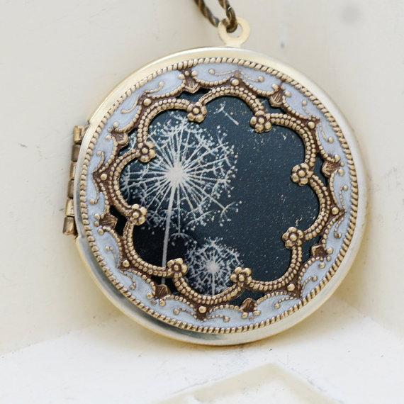 Mariage - Locket,Brass Locket,Dandelions Locket,Necklace,Photo Locket,Wedding Necklace,Jewelry Gift,bridesmaid gift,locket necklace,38mm locket,