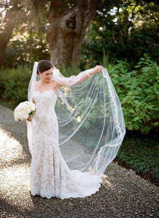 Свадьба - Eye Lash Lace Trim Edge Cathedral Length Veil