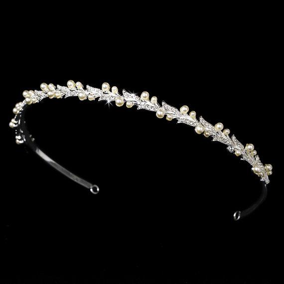 زفاف - Pearl and crystal headband, Bridal tiara, Bridal headband, Rhinestone and pearl headband, Wedding headpiece