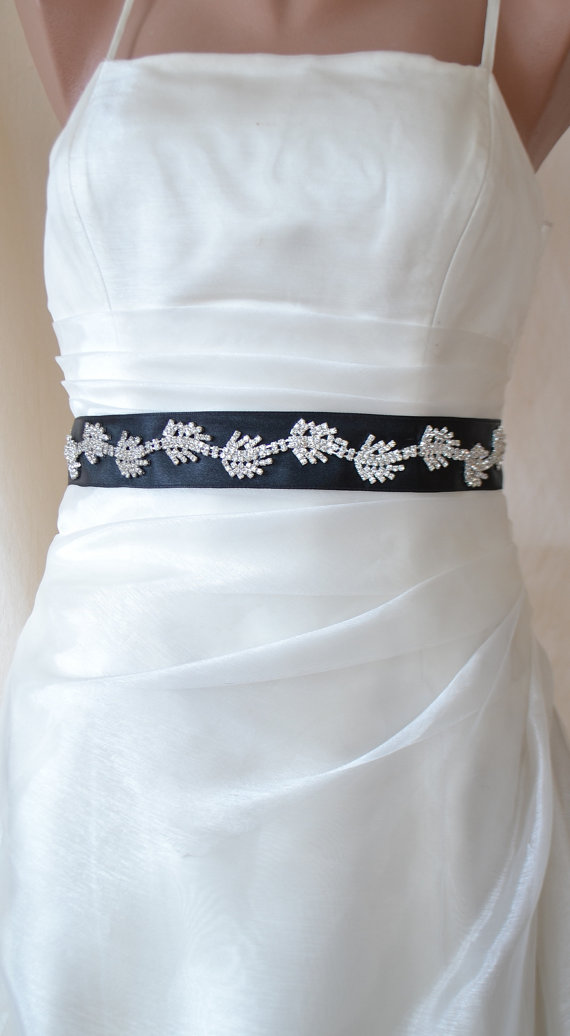 Wedding Bridal Crystal Belt Jeweled Black Satin Sash