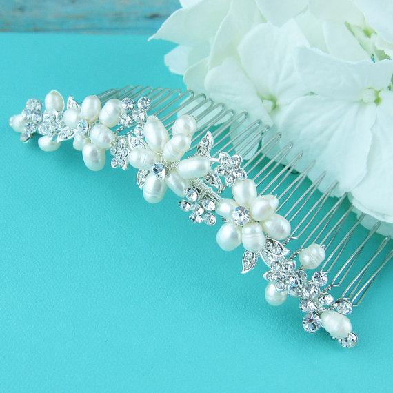 زفاف - Freshwater pearl bridal hair accessories comb, wedding hair comb, Swarovski crystal rhinestone hair comb hair comb wedding headpieces
