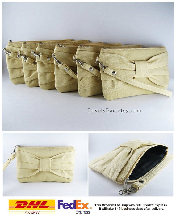 Mariage - SUPER SALE - Set of 6 Cream Bow Clutches - Bridal Clutch, Bridesmaid Clutch, Bridesmaid Wristlet, Wedding Gift, Zipper Pouch - Made To Order