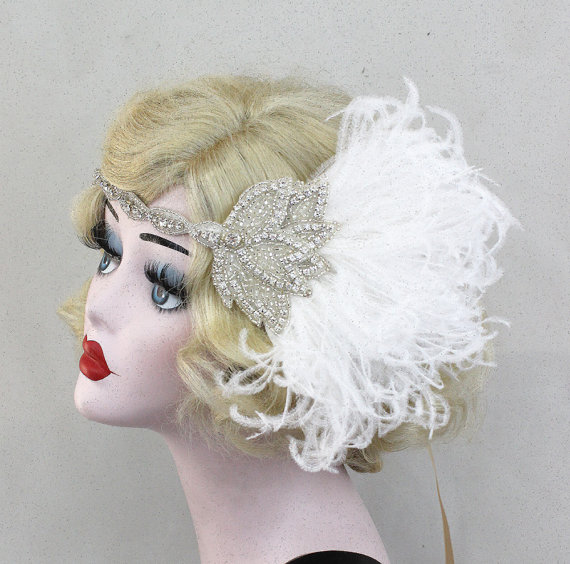 White Feather Fascinator - Wedding Hair Accessory - Great Gatsby Headpiece  - 1920s Flapper - Silver Headband - Pink Feather Headpiece 8e3351a78d9