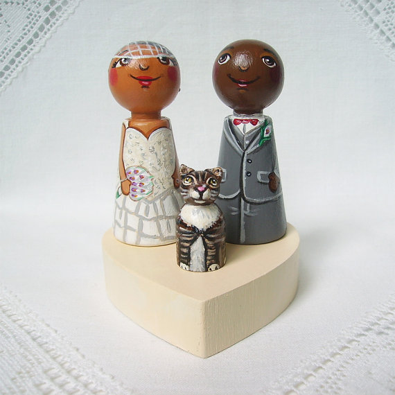 زفاف - Personalized custom wedding party cake topper bride groom peg dolls afro african american Asian cat animal lover keepsake heirloom bow tie