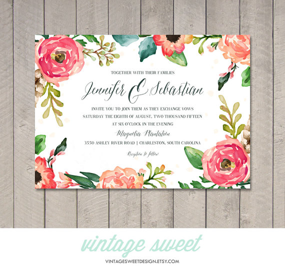 watercolor wedding invitation printable diy by vintage sweet