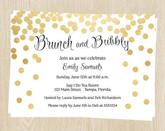 Brunch And Bubbly Bridal Shower Invitations Wedding Gold