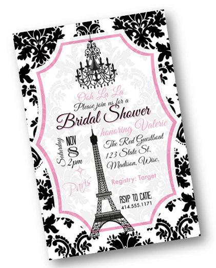Paris bridal shower invitation shower or bachelorette invite black paris bridal shower invitation shower or bachelorette invite black and pink damask wedding printable download filmwisefo