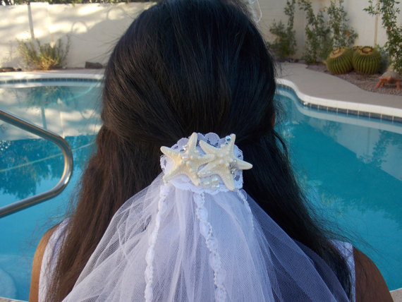 Wedding - Starfish veil clip bachellorette and beach wedding  for new  Bride to be , Bride Gift, Bridal Shower and  Bachelorette Gift
