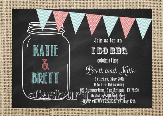 Hochzeit - Printable Invitation-NEW I Do BBQ-Engagement Party-BBQ-Mason Jar Invitation-Casbury Lane
