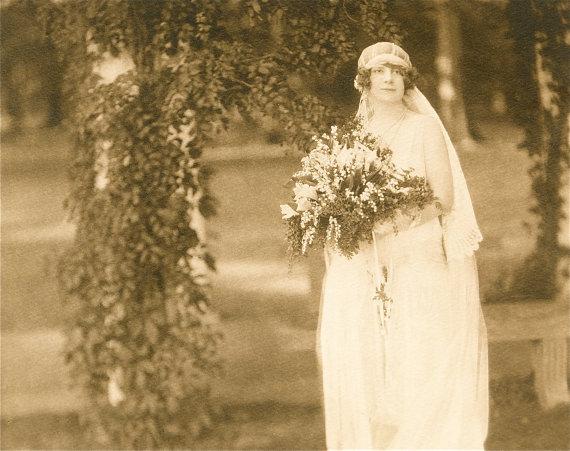 Hochzeit - Vintage 1923 Wedding Portrait Sepia Bridal Photo Signed // Historical 1920s Wedding Fashion Veil Gown // Art Deco Portrait by Poling Studio