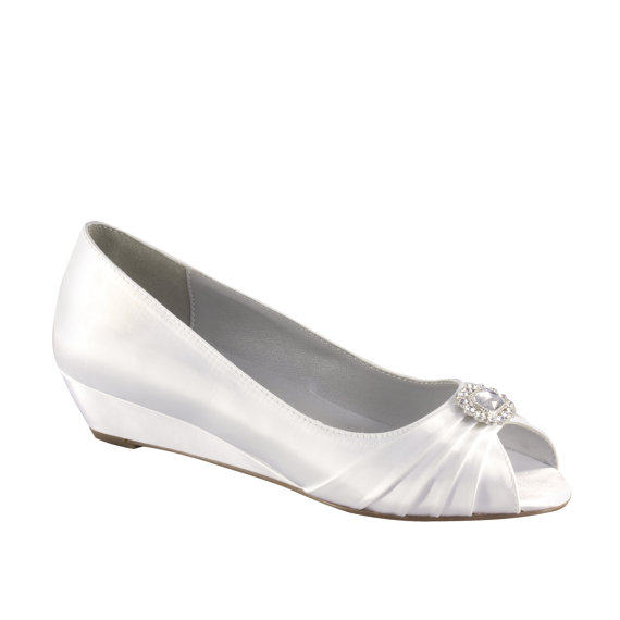 Свадьба - Wedding Shoes - Custom Colors 120 - Women's PBD101 Bridal Wedge Shoes