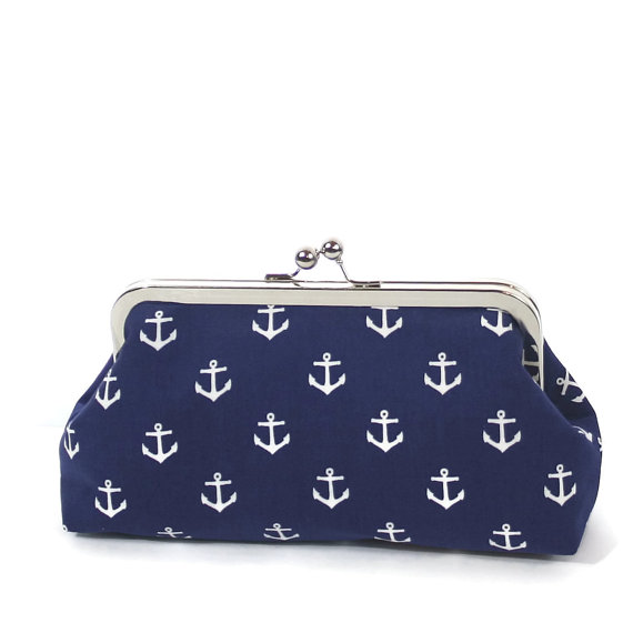 Hochzeit - Navy White Nautical Anchor Clutch/Navy Blue White Wedding Accessory/Nautical Purse