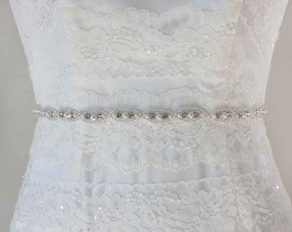 Hochzeit - RAMONA - Lovely Rhinestone And Pearl Bridal Sash, Wedding Beaded Belt, Bridal Crystal Belts, Bridesmaids, Bridal Party