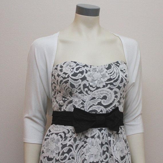 Mariage - New Arrival...Vanilla Ivory Wedding Bridesmaid Bridal Shrug Cardigan 3/4 Sleeve More Colors Available