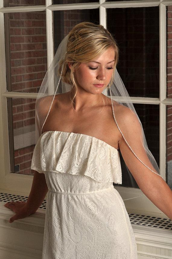 Свадьба - Rhinestone Veil - Wedding Veil, Rhinestone Veil, Crystal Veil, Elbow Length with Rhinestone Edge Trim