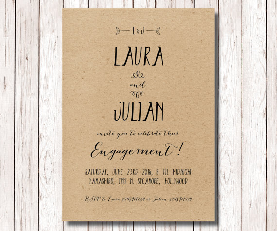 printable engagement party invitation kraft paper engagement