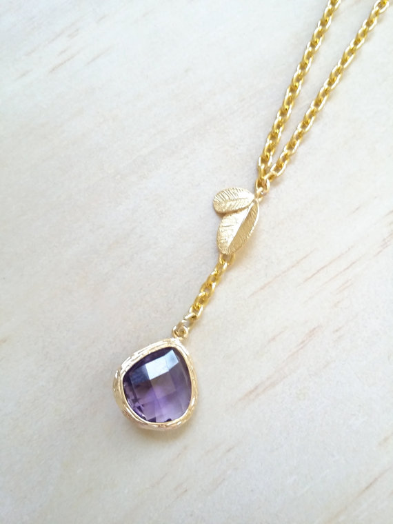Hochzeit - Amethyst necklace Gold Leaf  Purple necklace Bridesmaid Gift wedding Jewelry February birthstone necklace Christmas gift Lariat necklace