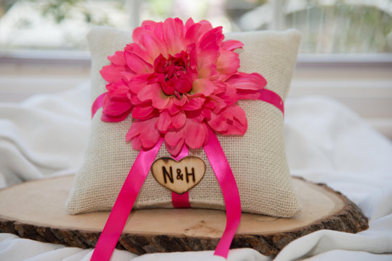 Mariage - Hot Pink Flower Ring bearer pillow with matching ribbon You personalize with choice of flower