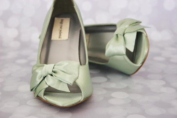 Hochzeit - Wedding Shoes -- Clover Wedge Wedding Shoes with Off Center Matching Bow on the Toe