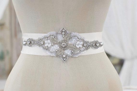 زفاف - Crystal Wedding Sash, Wedding Sash, Bridal Belt, Bridal Sash, Crystal Sash, Crystal Belt, Beaded Sash, Rhinestone Sash, Sash - TINSLEY