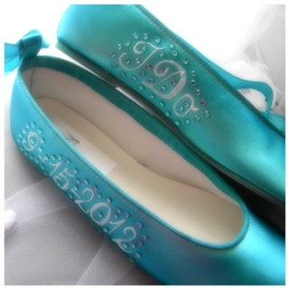 Hochzeit - Wedding shoes Tiffany Blue  Ballerina Flats Personalized names date I do crystals