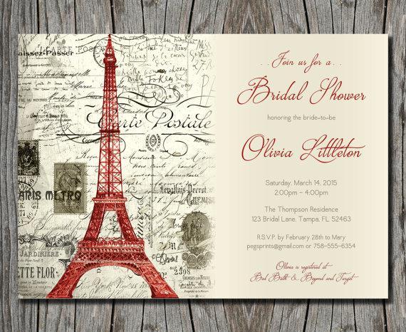Vintage Red Paris Themed Bridal Shower Invitation Printable