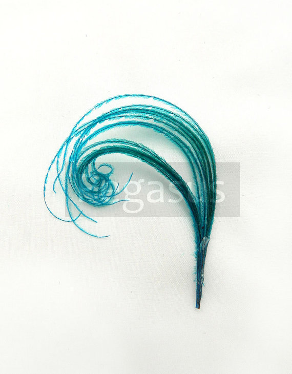 Mariage - TEAL BLUE Mini peacock feather plume for boutonnieres, earrings, shoe clips, fascinators and wedding invitations (12 Plumes)
