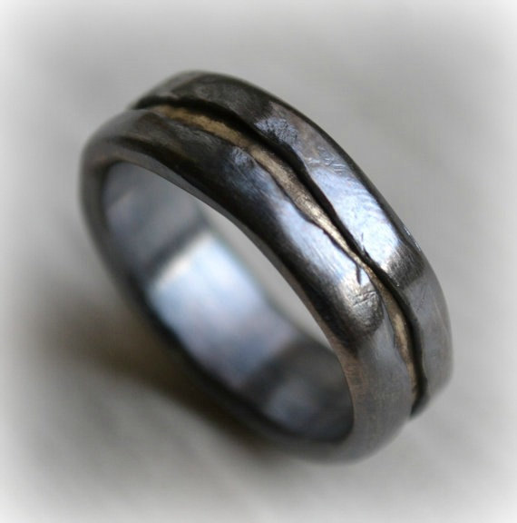 Wedding - mens wedding band - rustic fine silver and brass ring - handmade oxidized artisan designed wedding or engagement band - customized