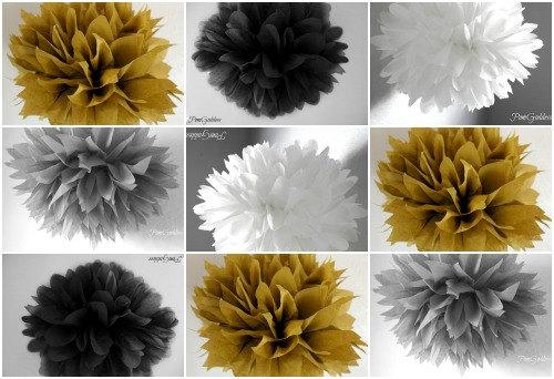 Mariage - 10 tissue poms, 50th wedding anniversary decor,graduation party decorations, Gold Black White