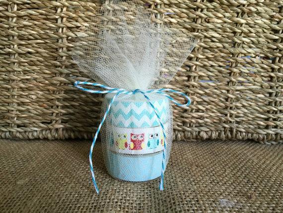 Mariage - owl baby shower tea light favors.