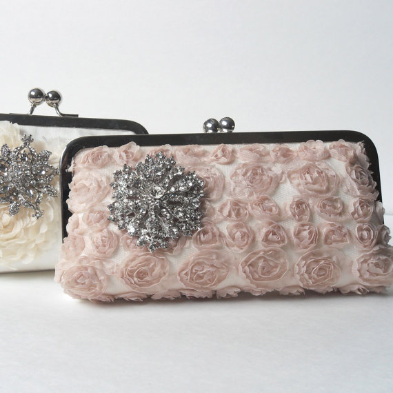 Wedding - Clutch, champagne evening bag, taupe bridal clutch, brooch clutch, champagne wedding, latte wedding purse