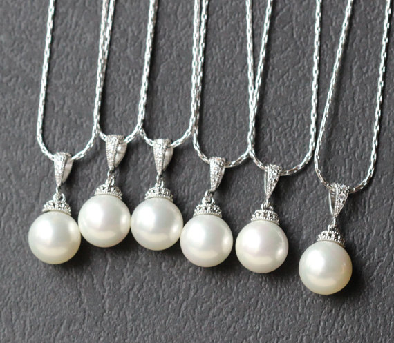 Mariage - set of  7 necklace , pearl necklace , bridesmaid gift set , bridal party jewelry