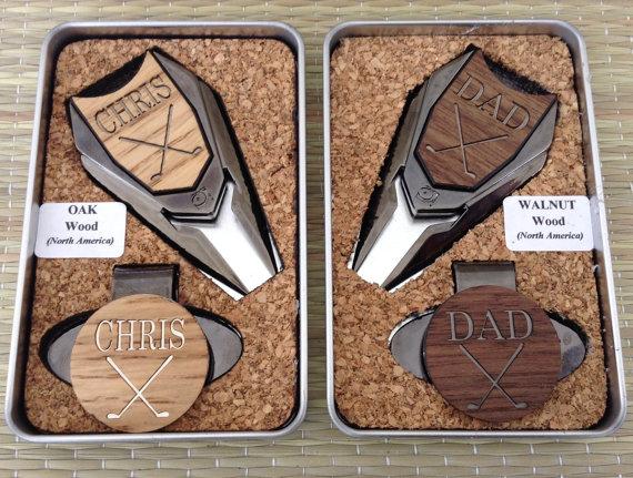 Personalized Wood Golf Ball Marker Set Divot Tool Hat Clip In Custom Tin Gift Box Groomsmen Gift For Dad Grandpa Golf Gift For Men 2251243 Weddbook