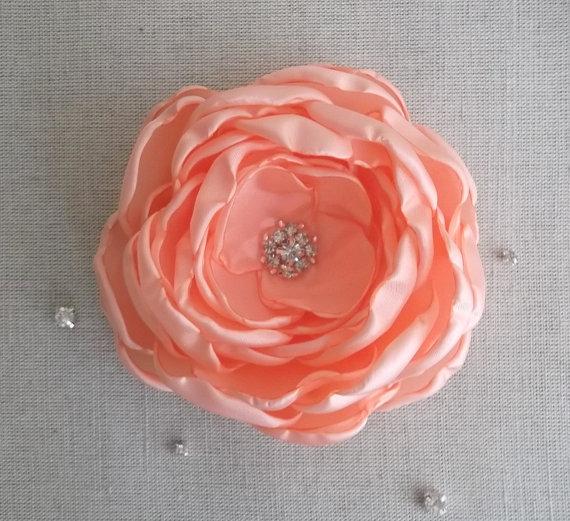 Mariage - Big Peach Pale Orange flower, 4'' Bridal bridesmaids hair piece veil fascinator dress sash brooch, Flower girls Gift, Crystals Rhinestones